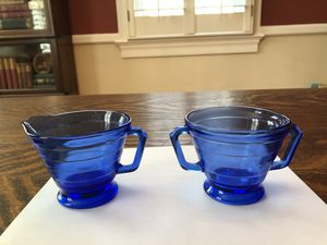 Cobalt Blue Moderntone Depression Glass Creamer/Sugar for Sale in Arlington, VA