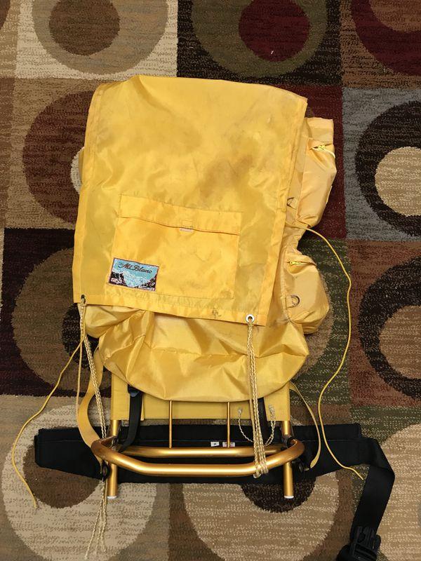 Vintage World Famous Mont Blanc No 238 Aluminum Frame Hiking Backpack Yellow