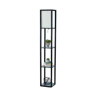 Simple Designs Home LF1014-BLK Etagere Organizer Storage Shelf Linen Shade Floor Lamp, Black for Sale in Ontario, CA
