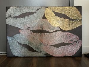 Large glitter lips canvas painting for Sale in Coronado, CA