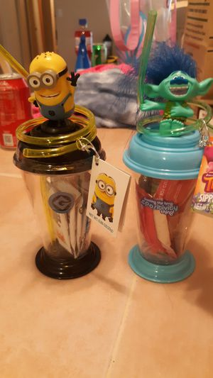 Brand new Batman , Minoins, Trolls (Poppy & Branch) cups with taffy inside $3 each have alot of each of them for Sale in Peoria, AZ