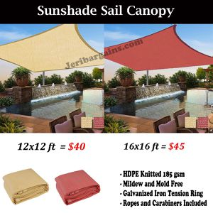 New 12x12 or 16x16 square pool patio deck Sunshade sail sun screen canopy shade (TAN / RED) for Sale in Riverside, CA