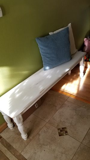 Beautiful LARGE white farm pine wood bench for Sale in Sylmar, CA