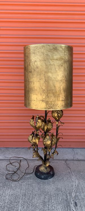 Rare Vintage MCM Hollywood Regency Gilt Tole Floral Gold Leaf Metal Lamp, Base Made in Italy for Sale in Los Angeles, CA