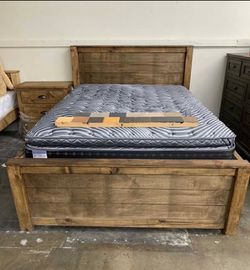 Solid Wood Queen Size Bed Frame (Mattress Included) for Sale in Anaheim,  CA