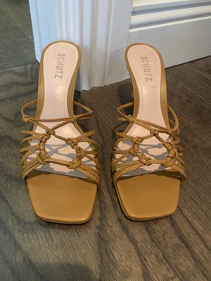 New, leather and bamboo heels sandals, size 7.5 for Sale in LAUD BY SEA, FL