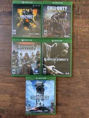 Xbox one games call of duty, assassins creed, Star Wars and mortal combat for Sale in Danville, CA