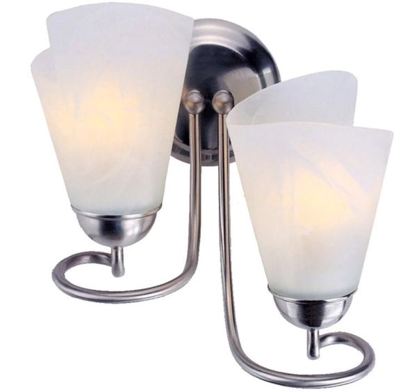 """2-Light Brushed Nickel Arm Wall Sconce 11"""" White Portfolio 238359 NEW IN BOX"""
