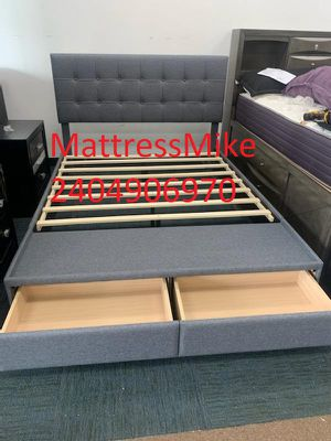 New in box king size gray color platform bed frame with built-in storage floorboard for Sale in Beltsville, MD