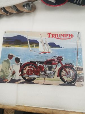 Triumph motorcycle scene aluminum metal sign for Sale in Vancouver, WA