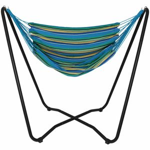 Sunnydaze Hanging Rope Hammock Chair Swing with Space Saving Stand, Ocean Breeze - For Indoor or Outdoor Patio, Yard, Porch 9b for Sale in Norcross, GA