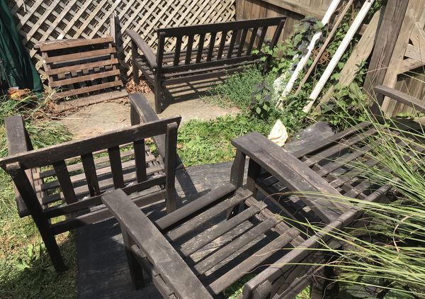 Patio deck 2 love seats 3 chairs wood 2 chairs HDPE
