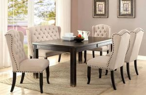 7 PIECES RUSTIC STYLE Sania Dining Table, 4 Chairs, and Bench by FOA for $1,499 or $90 twice a month for Sale in Chino, CA