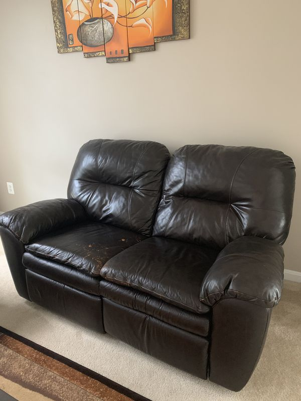 Leather Recliner Sofa & love seat with a free coffee table