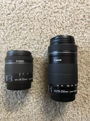 Canon lenses and other 2 lenses included for Sale in Indianapolis, IN