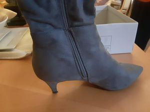 Gray zip up boots with box- 1 inch heel for Sale in Cleveland, OH