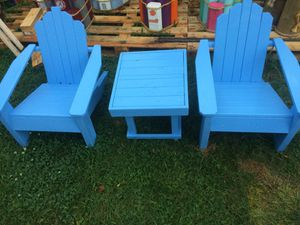 Child's handcrafted Adirondack chairs with table for Sale in Charlotte, NC