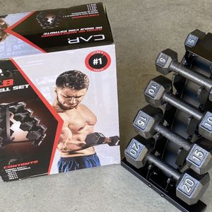 NEW CAP 100 lb Cast Iron Dumbbell Set w/ Tree Rack 20 15 10 5 Pound Weight 100lb for Sale in Colton, CA