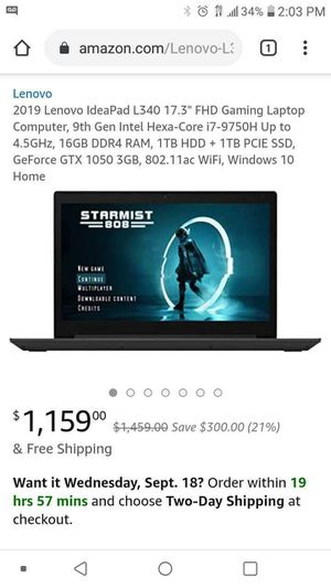 Lenovo gaming laptop for Sale in East Windsor, CT