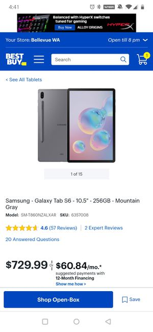 "Samsung Galaxy Tab S6 10.5"" 256GB brand new sealed. for Sale in Dublin, CA"