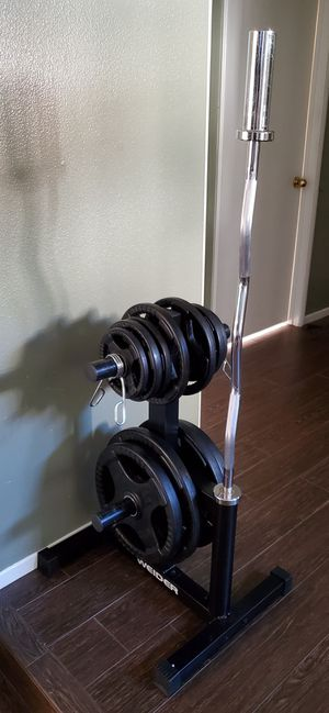RUBBER COATED BODY SOLID OLYMPIC GRIP WEIGHT PLATE SET WITH OLYMPIC TREE AND OLYMPIC CURL BAR for Sale in Riverside, CA