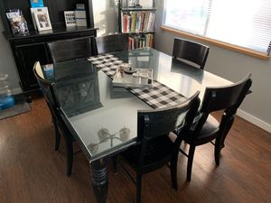 Black Dining Room Table and Hutch for Sale in Tacoma, WA