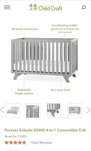 Soho ChildCraft nursery furniture (convertible crib, dresser , changing table and guard rail ; bumpers and mattress with bedding can be purchased for for Sale in Mantua, OH