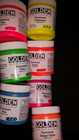 Golden acrylics fluorescent light fast pour lot for Sale in Tacoma, WA