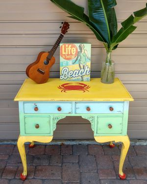 Boho-chic Coastal Nautical Crab Desk or Vanity Entry Table TV Stand for Sale in St. Pete Beach, FL