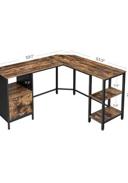 L-Shaped Computer Desk, Home Office Desk with Shelves and Hanging File Cabinet, Space-Saving, Industrial, 53.9 x 59.1 x 29.5 Inches for Sale in Rancho Cucamonga,  CA