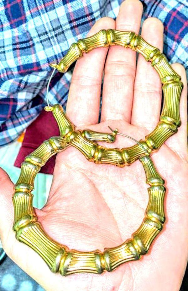 Gold loop large ear rings