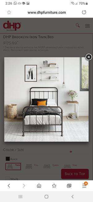 New twin bed frame black mattress not included for Sale in Charlotte, NC