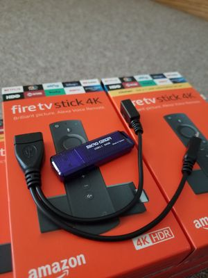 4K Amazon Fire TV Sticks with 64GB USB 3.1 Thumb drive and usb Y Connector Free TV for Sale in Saint Paul, MN