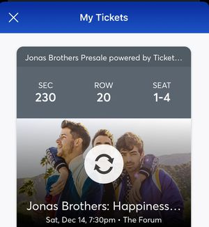 JONAS BROTHERS SAT 12/14 THE FORUM for Sale in Alhambra, CA