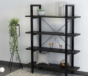 Wood Bookshelf 4 Tier 41Wx12Dx55H Bookcase Solid Industrial Bookshelf, Sturdy Bookshelves w/ Steel Frame Storage Organizer BLACK for Sale in Ontario,  CA