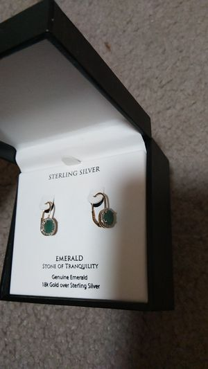 Genuine emerald 18k gold over sterling silver earrings for Sale in Santa Ana, CA
