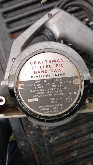 Vintage Craftsman electric hand saw for Sale in San Antonio, TX