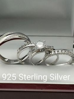 New with tag Solid 925 Sterling Silver HIS & HER WEDDING Ring Set size 9 or 10 and 5/6 or 7 $275 set OR BEST OFFER ** FREE DELIVERY!!! 📦🚚 ** for Sale in Phoenix,  AZ