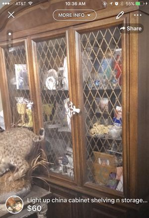 China cabinet 2 sections lower cabinet storage n light up glass shelving millard NEED GONE ASAP MILLARD for Sale in Omaha, NE