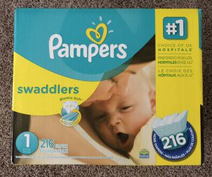 New!! Size 1 diaper-216 Pampers Swaddlers for Sale in Spring, TX