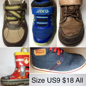 5 Pairs Boy Shoes Size US9. All for $18 for Sale in Bellaire, TX