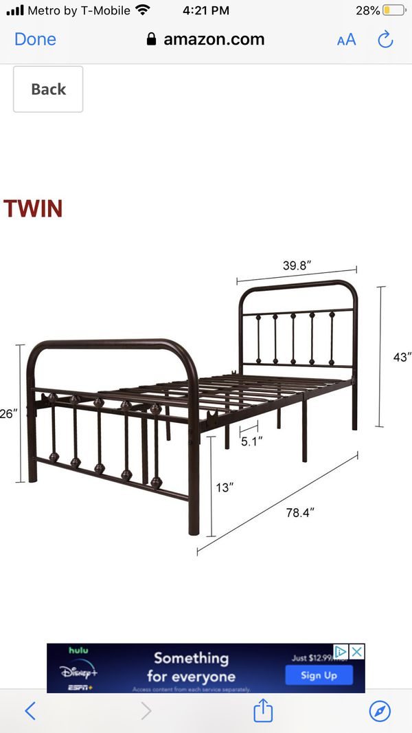 Twin metal bed frame $60