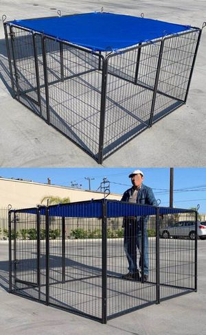New 40 inch tall x 32 inches wide each panel x 8 panels heavy duty exercise playpen fence safety gate dog cage crate kennel (blue tarp not included) for Sale in Montebello, CA