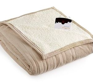 Queen:: Biddeford Micro-plush Reverse Faux Sherpa Heated Blanket, Beige (P1, 3) for Sale in Long Beach, CA