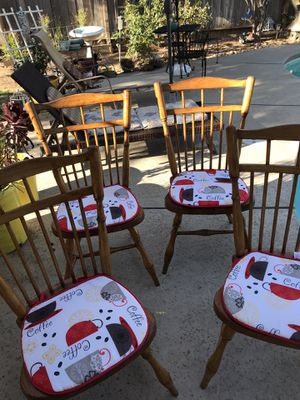 Oak chairs newly varnished 4 set no table for Sale in Fresno, CA