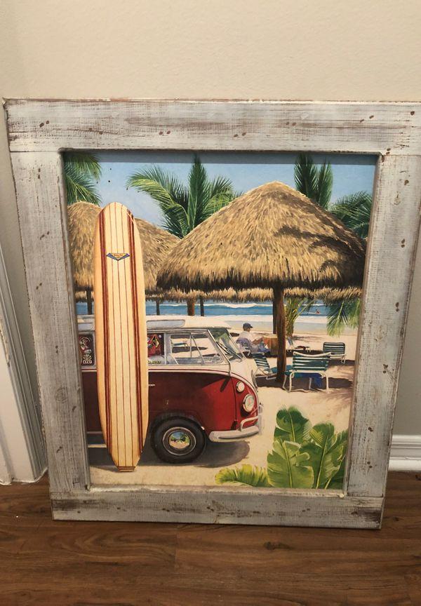"""Wood framed beach painting (35x29"""")"""