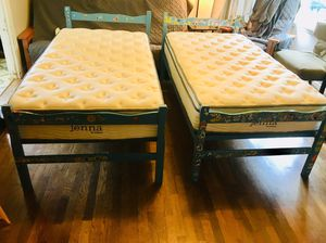 "Antique twin bed frames with new 10"" Jenna mattresses for Sale in Bremerton, WA"