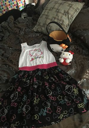 Hello Kitty XL Dress, halloween bucket & 2 plush dolls and jewel chest/box for Sale in Land O' Lakes, FL