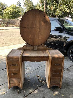 Antique 1940s Wooden Vanity 4-Drawer Desk for Sale in Fresno, CA