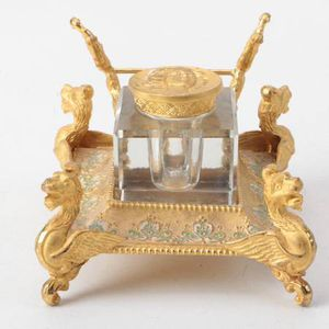 Sevres France Antique Footed Champleve-Enameled Gilt Bronze Inkwell for Sale in Lakewood, CO